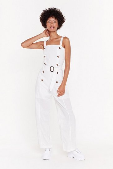 White Button Top of the World Belted Jumpsuit