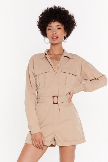 Womens Beige Utility Playsuit