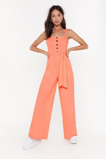 Womens Apricot Wide It Gotta Be This Way Linen Jumpsuit