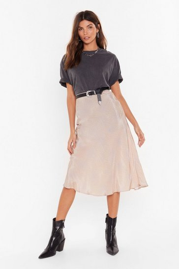 Womens Beige It's Worth a Spot Satin Midi Skirt
