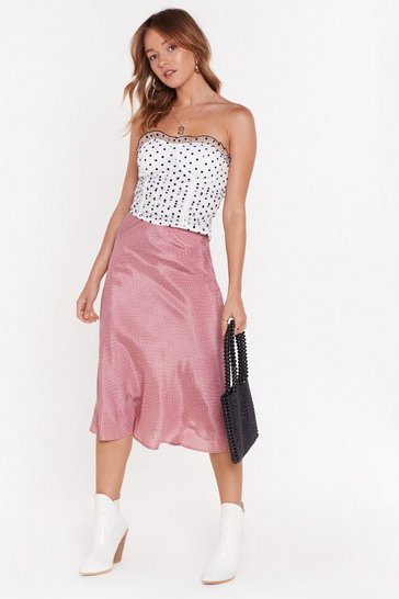 Rose It's Worth a Spot Satin Midi Skirt