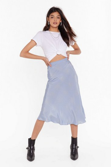 Sky It's Worth a Spot Satin Midi Skirt