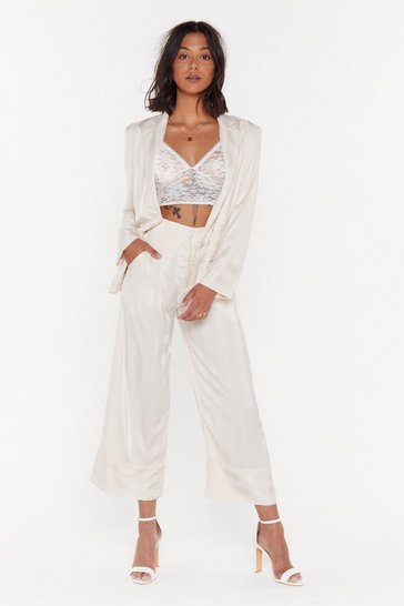 Beige Stripe Your Way Cropped Satin Pants