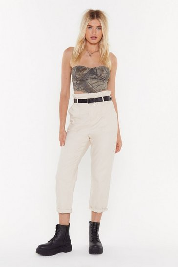 Womens Beige Just Roll With It Belted Cargo Trousers
