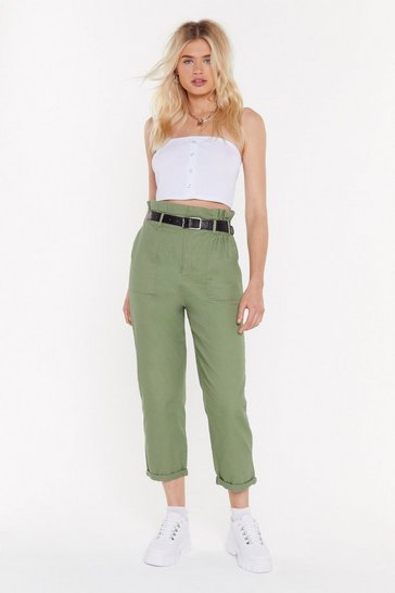 Womens Khaki Just Roll With It Belted Cargo Pants