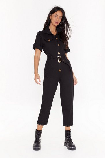 Womens Black It's Goin' Button-Down Belted Boilersuit