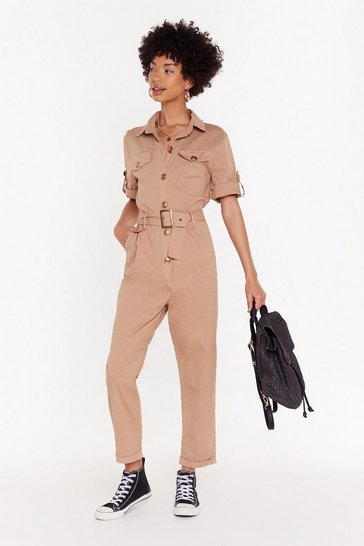 Womens Camel It's Goin' Button-Down Belted Boilersuit
