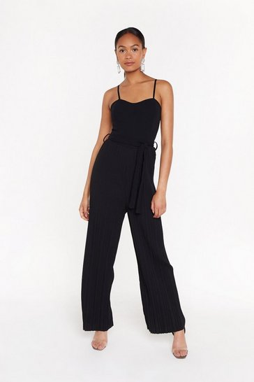Womens Black Bandeau Pleated Leg Jumpsuit