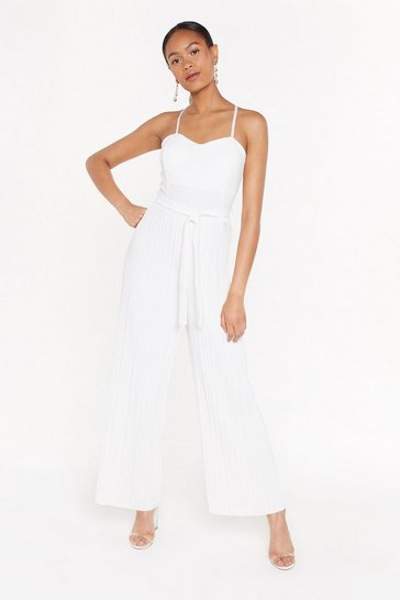 Womens White Bandeau Pleated Leg Jumpsuit
