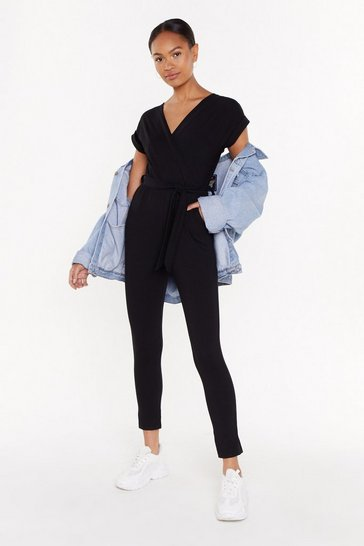 Womens Black Wrap Belted Jumpsuit