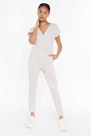 Womens Sand Wrap Belted Jumpsuit