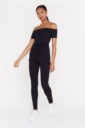 Womens Black Off-the-Shoulder Comment Belted Jumpsuit