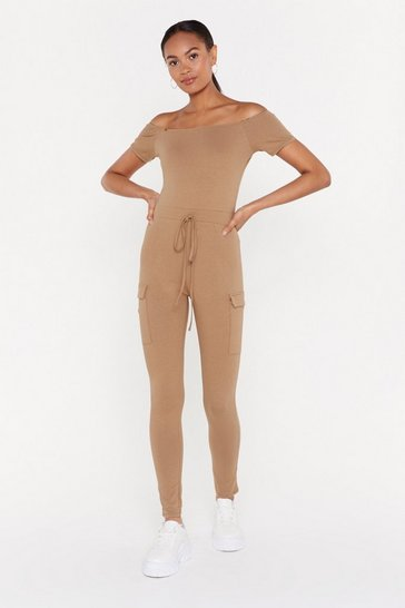 Womens Camel Off-the-Shoulder Comment Belted Jumpsuit