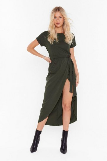 Womens Khaki Let's Wrap This Up Belted Midi Dress