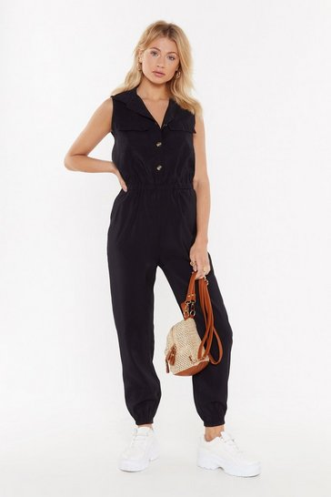 Womens Black Jumping to Conclusions Button-Down Jumpsuit
