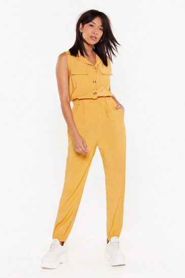 Womens Yellow Jumping to Conclusions Button-Down Jumpsuit