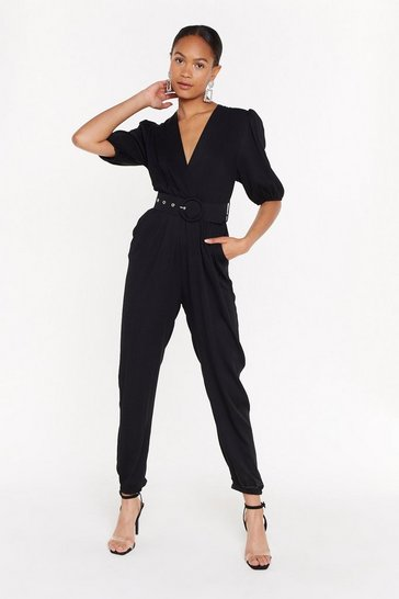 Womens Black Wrap It Up V-Neck Belted Jumpsuit