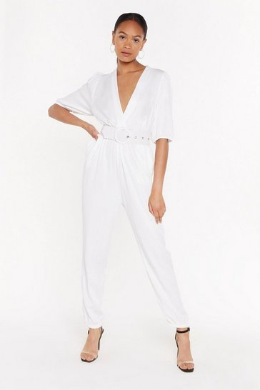 Womens White Wrap It Up V-Neck Belted Jumpsuit