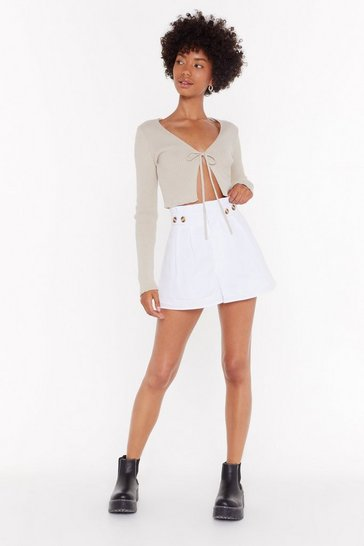 Womens White Sweet Button Savage High-Waisted Shorts