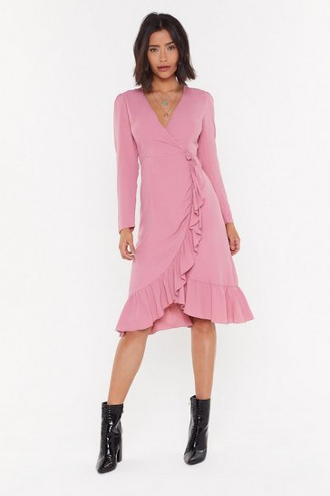Womens Rose Get Rich Or Tie Tryin' Wrap Midi Dress