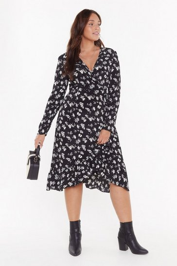 Womens Black Frill Got It Plus Floral Midi Dress