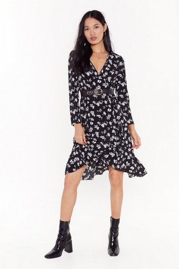 Womens Black If It Were Up to Tea Floral Midi Dress