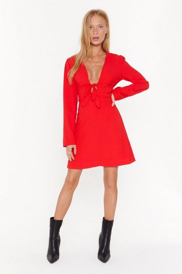 Red Two For One Double Tie Mini Dress