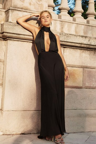 Womens Black Big Entrance Satin Maxi Dress