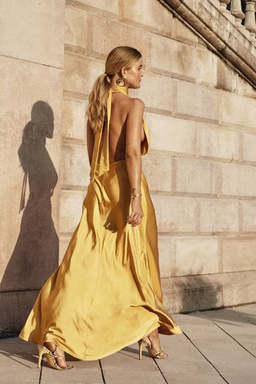 Womens Mustard Big Entrance Satin Maxi Dress
