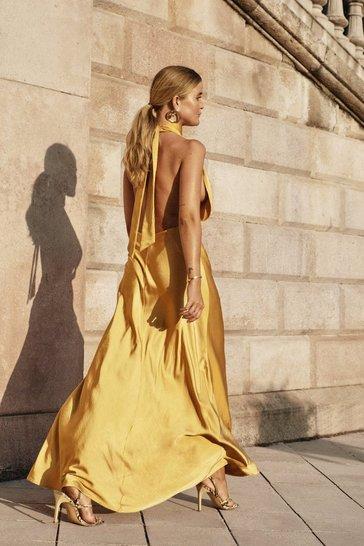 Mustard Big Entrance Satin Maxi Dress