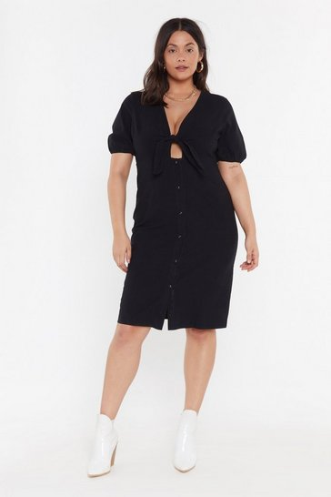 Womens Black Do Knot Disturb Button-Down Plus Dress