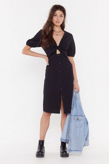 Womens Black Do Knot Disturb Button-Down Midi Dress