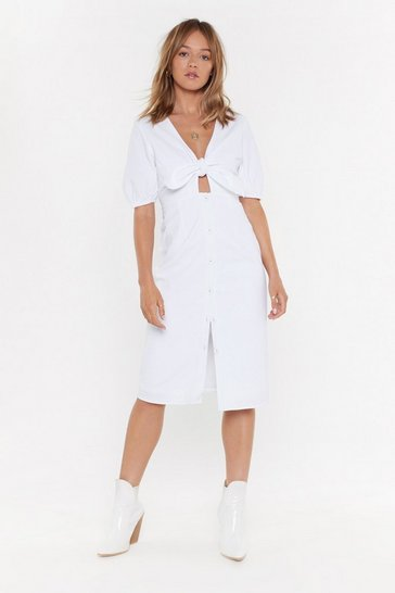 Womens White Do Knot Disturb Button-Down Midi Dress