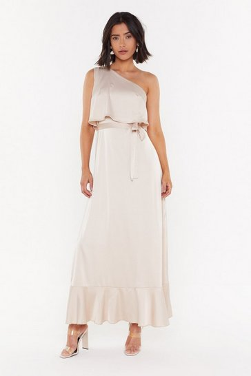 Womens Mocha The Lucky One-Shoulder Satin Maxi Dress