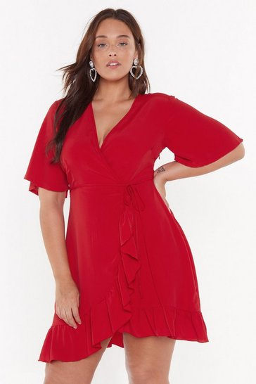 Womens Red No Frills Plus Ruffle Mini Dress