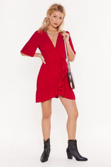 Red No Frills Ruffle Mini Dress