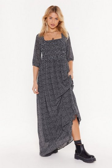 Black Young at Heart Square Neck Maxi Dress