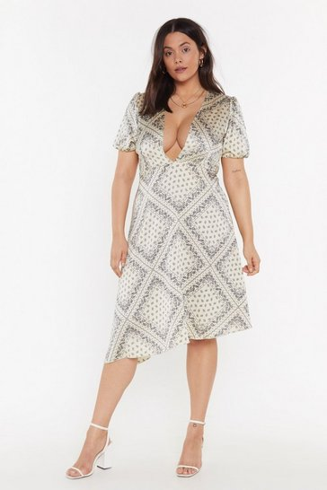 Gold Plunge in Printed Plus Dress