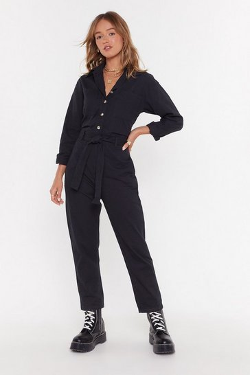 Womens Black U Better Work Button-Up Boilersuit