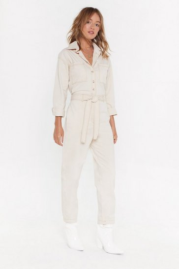 Womens Ecru U Better Work Button-Up Boilersuit