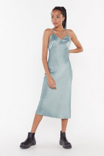 Womens Teal Go With The Low Satin Midi Dress