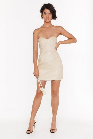 Womens Cream Strapless From the Past Faux Leather Mini Dress