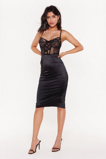 Womens Black Lace to the Boudoir Satin Midi Dress