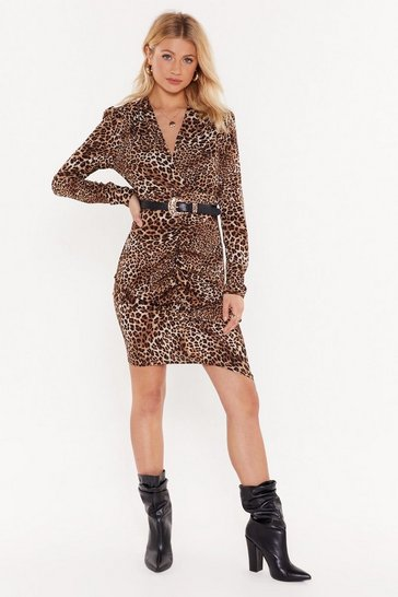 Womens Brown Leopard Print Belted Dress