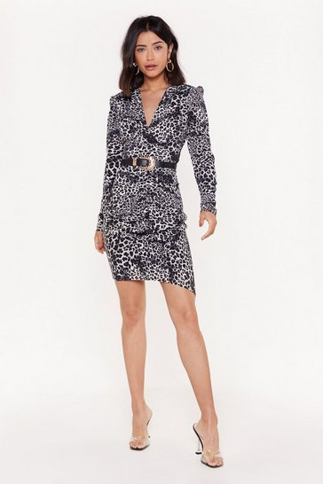 Womens Grey Walking on the Wild Side Leopard Belted Dress