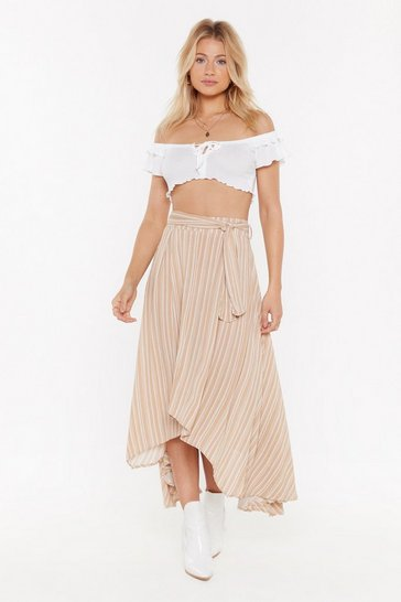 Womens Beige Linen Stripe Asymmetric Midi Skirt