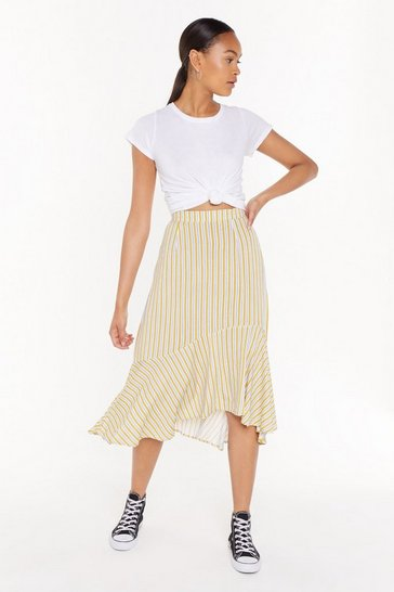 Womens Mustard Linen Stripe Midi Skirt