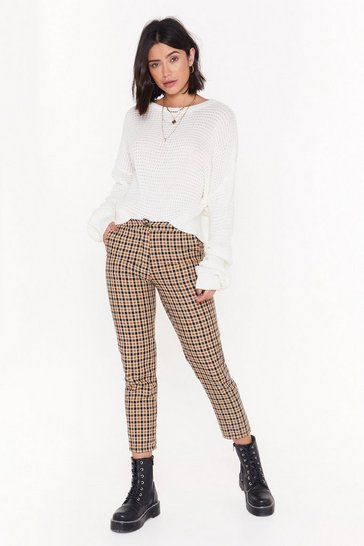 Womens Camel You Came in Like a Check-ing Ball Tapered Pants