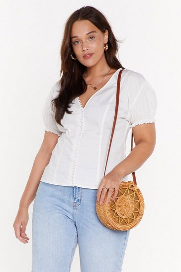 Womens White Sleeve Made It Button-Down Plus Blouse