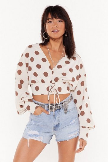 Womens Nude Hot Spot Cropped Blouse